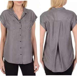 Jachs Girlfriend Grey Chambray Shirt Button Front